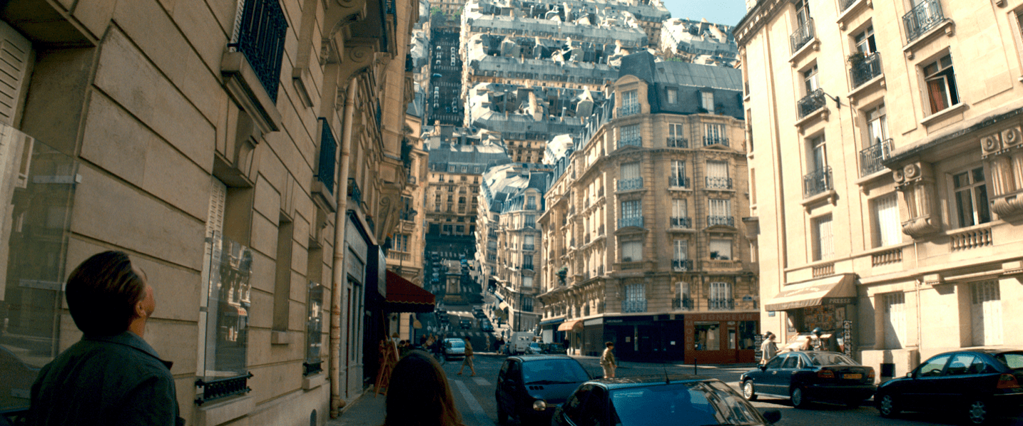 A scene from Inception, one of the best mindfuck movies.