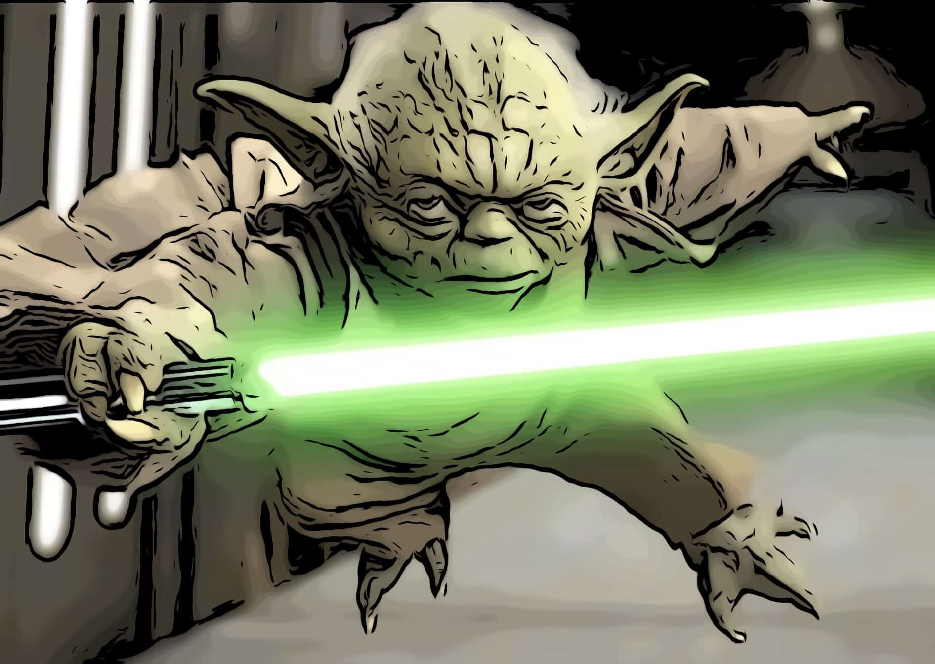 Yoda in a fight in one of the star wars movies