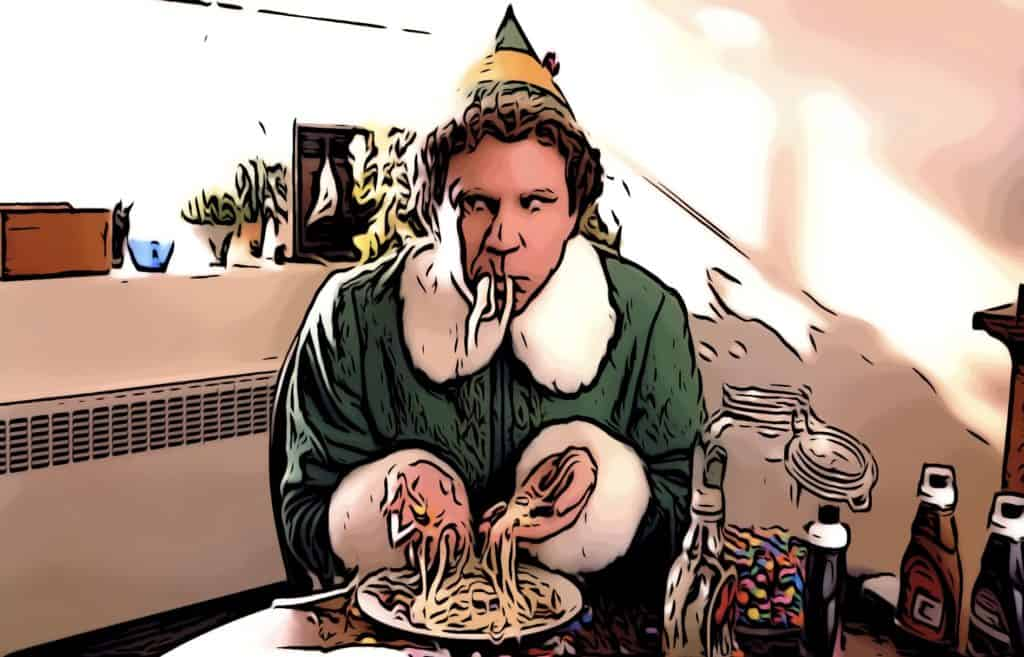 Buddy the elf eating in elf the movie