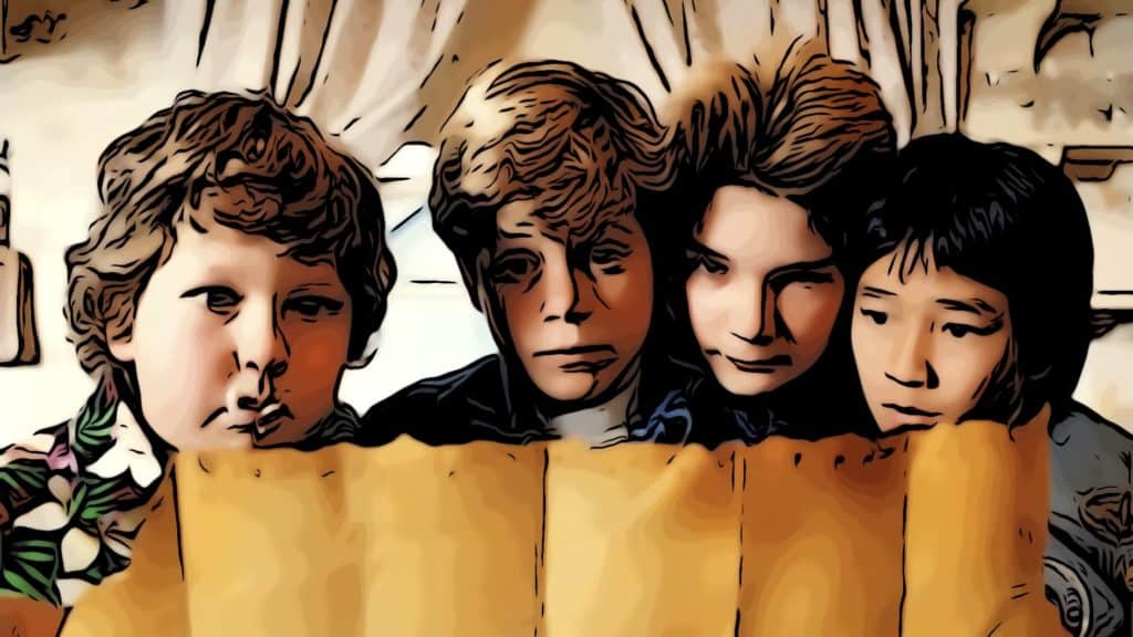 The Goonies discovering the treasure map.