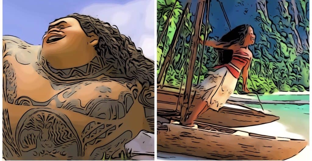 Scenes from Moana for the Moana Easter eggs post.