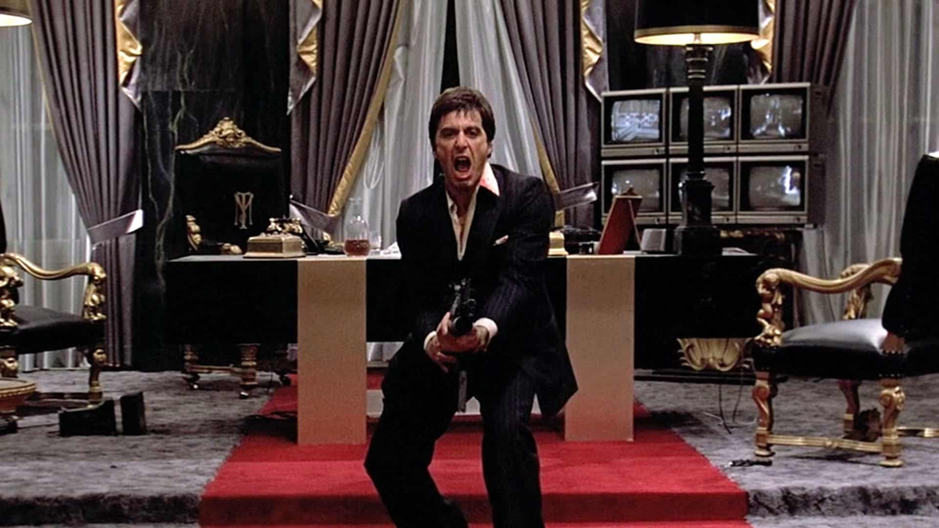 Say hello to my little friend scene from Scarface, which is one of the best gangster movies out there.