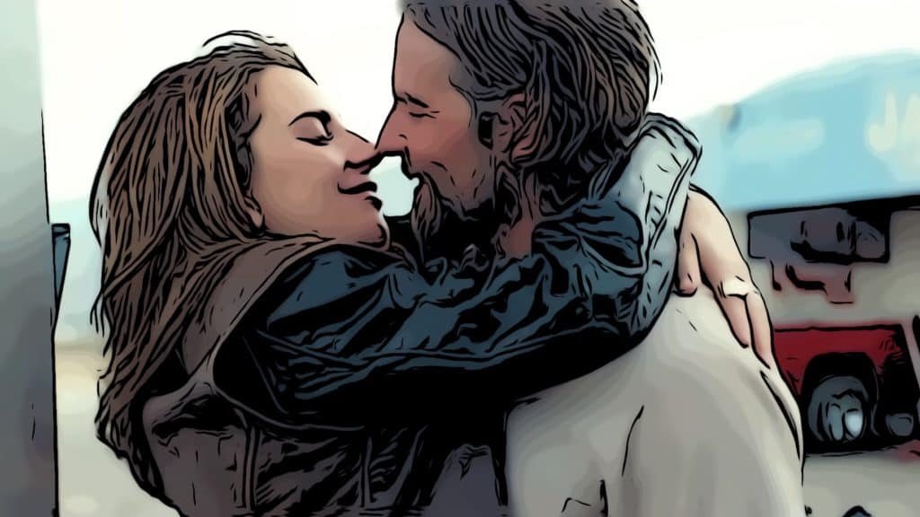 Bradley Cooper and Lady Gaga kissing in A Star Is Born for best movies about alcoholism post.
