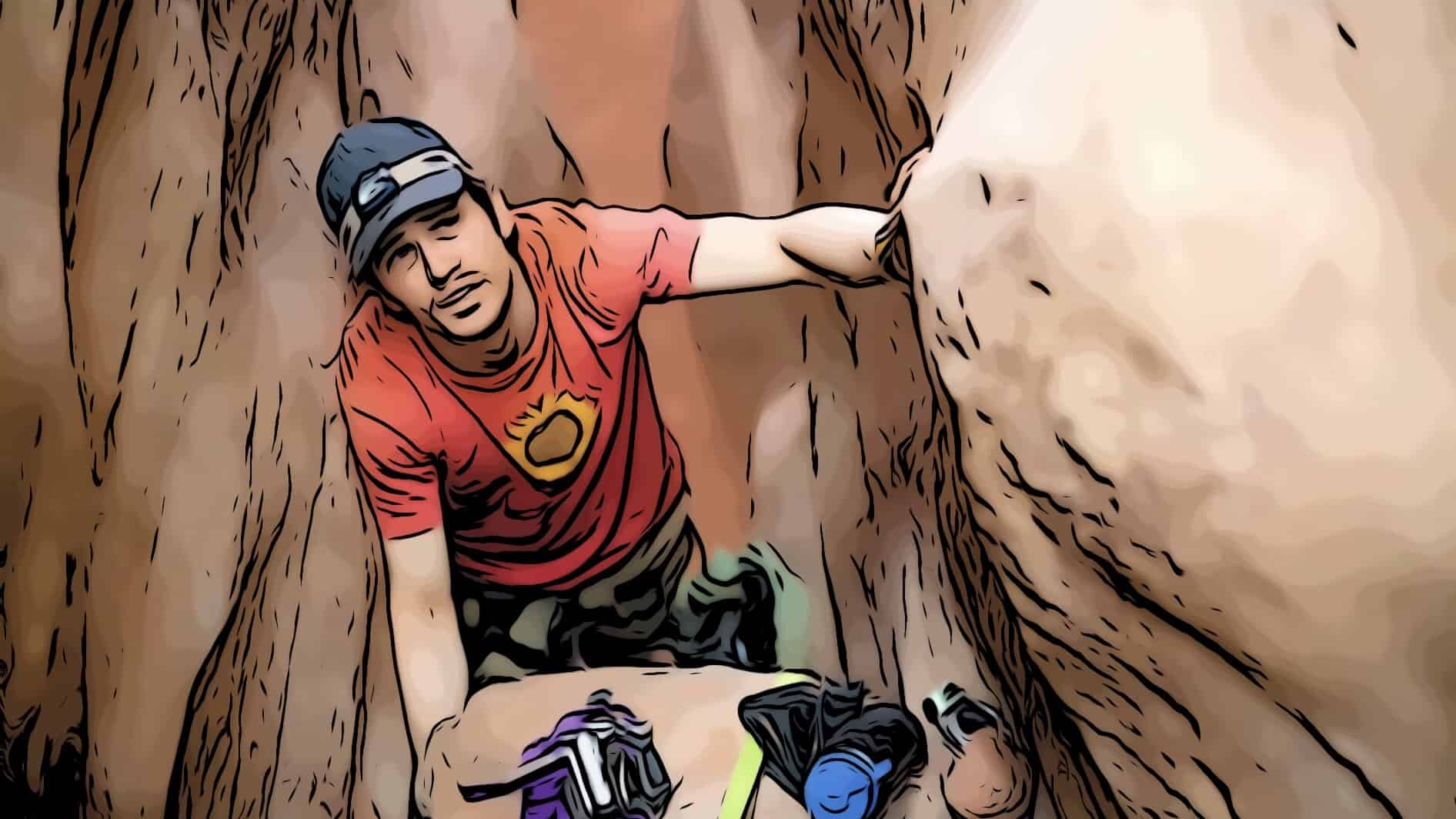 James Franco in 127 Hours stuck under boulder for movies based on true stories post.