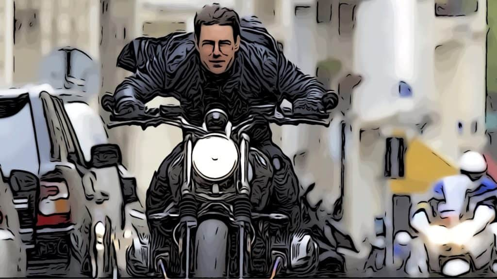 Tom Cruise riding bike in Mission Impossible for Tom Cruise movies list post.