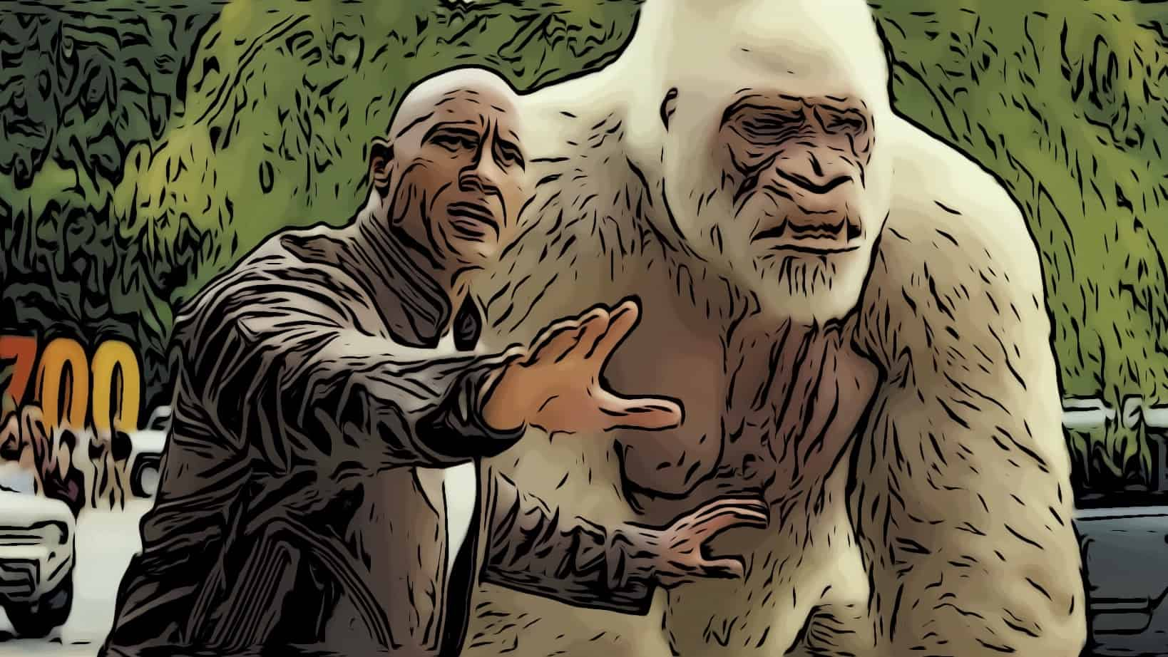 Scene from Rampage for Dwayne Johnson movies post.