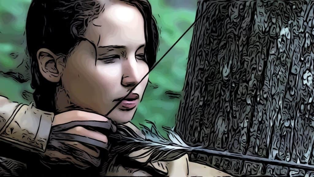 Scene from The Hunger Games for Jennifer Lawrence movies post.