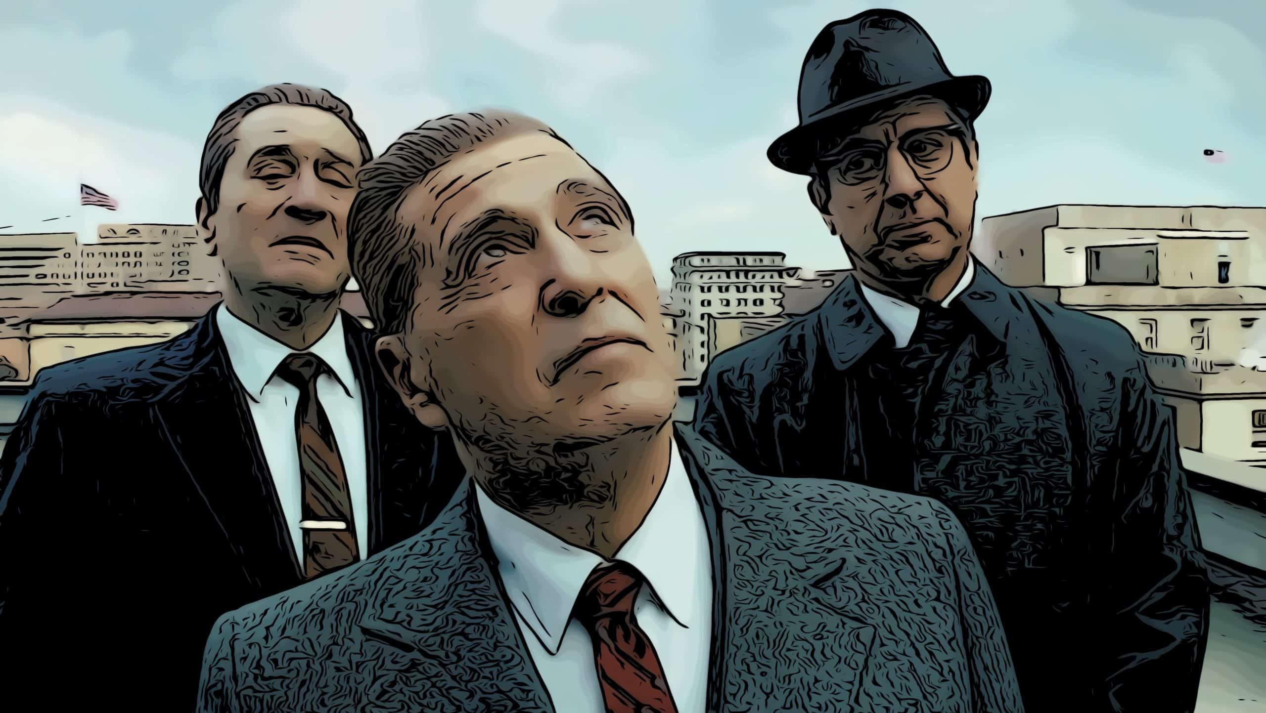 Scene from The Irishman for highest rated movies on Netflix post.