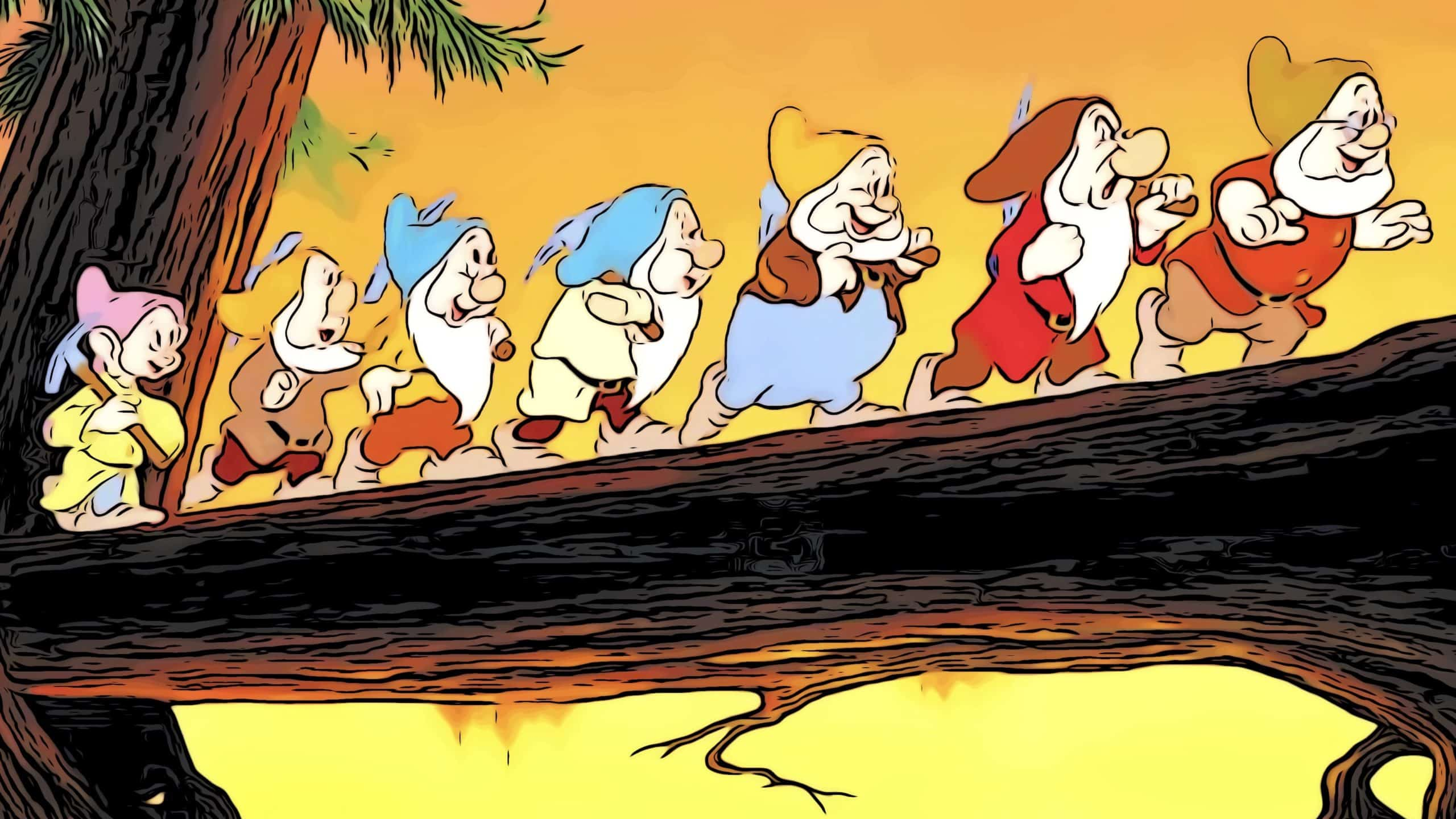 Scene from Snow White for, what are the 7 dwarfs names post.