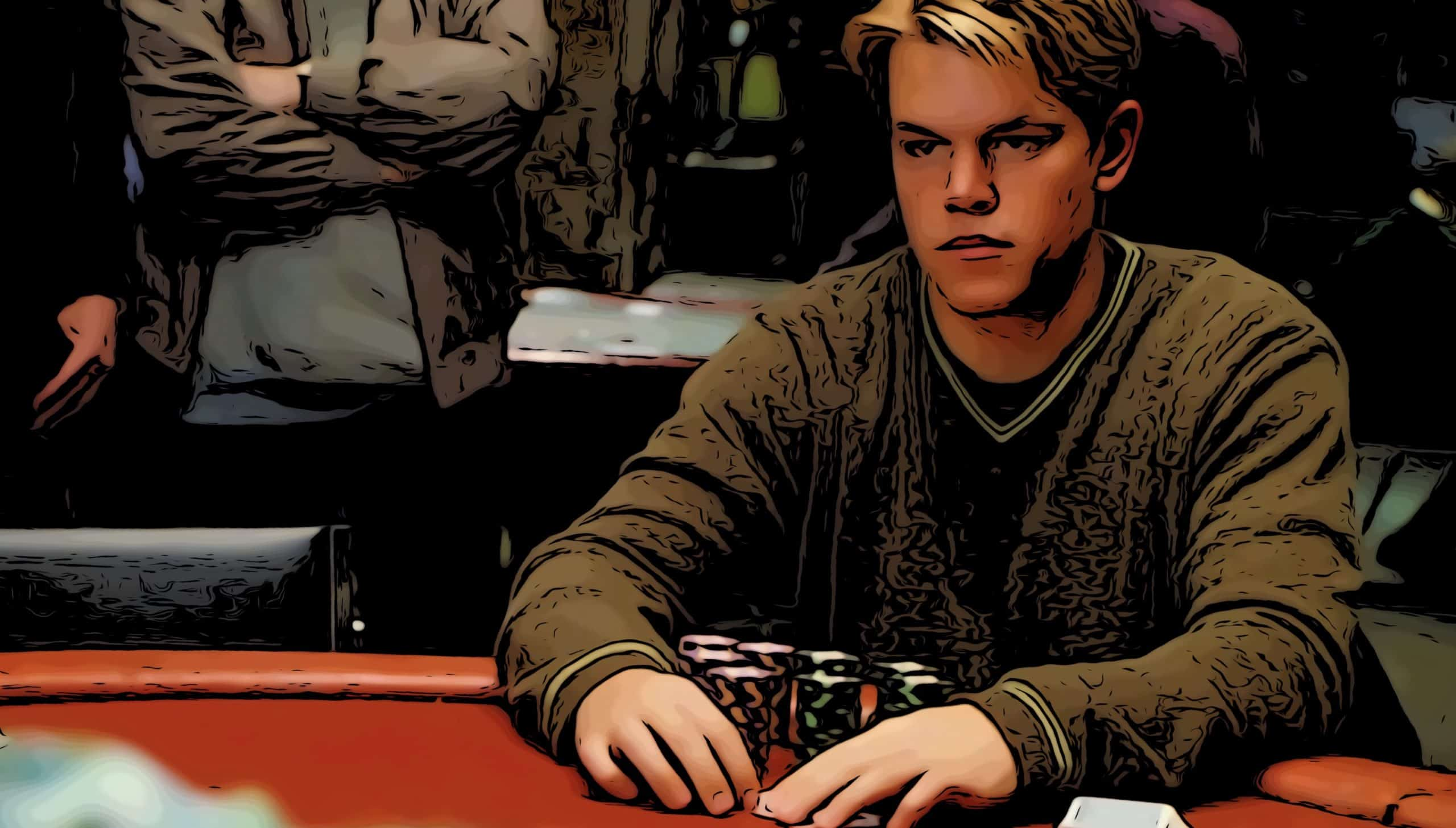 Scene from Rounders for gambling movies on Netflix post.