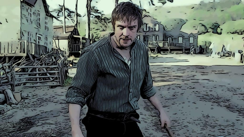 Scene from Apostle for horror movies on Netflix post.