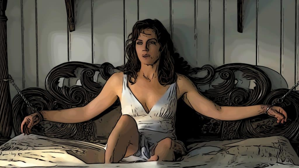 Scene from Gerald's Game for Stephen King movies on Netflix post.