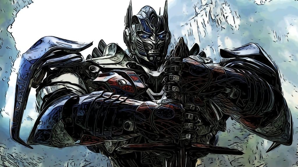 Optimus Prime holding a sword for Transformer movies in order post.