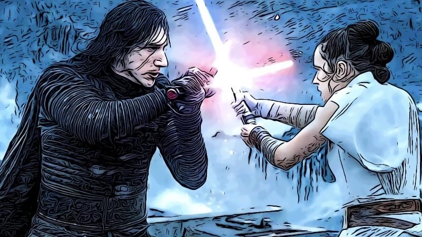 Kylo and Rey fighting for Star Wars memes article.